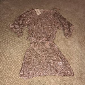 Rose gold metallic knit coverup dress